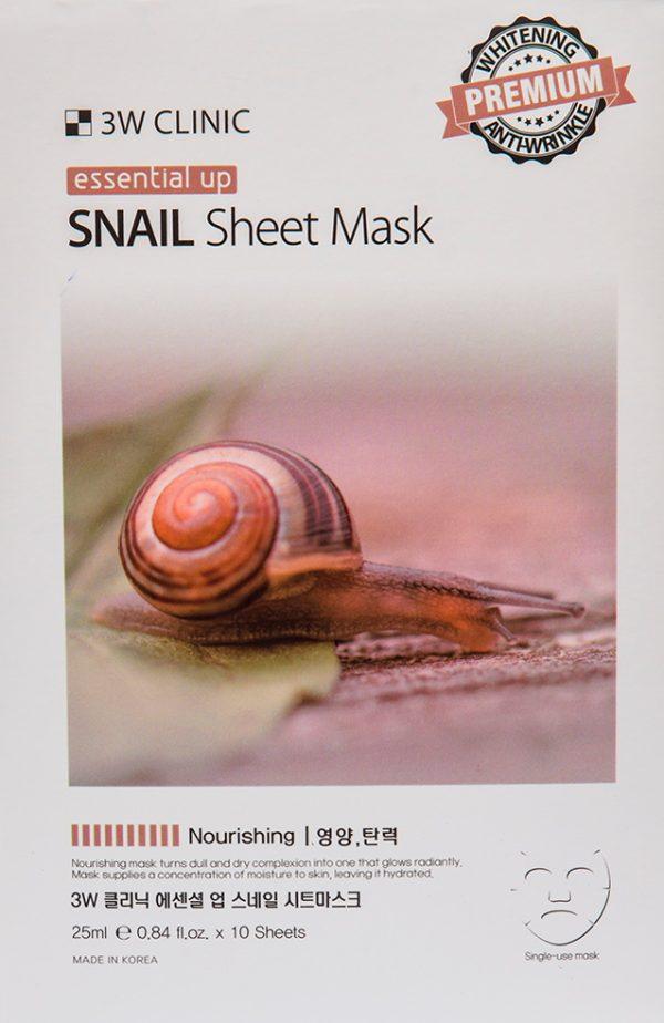 Маска для лица - Essential Up Snail Sheet Mask [3W Clinic]