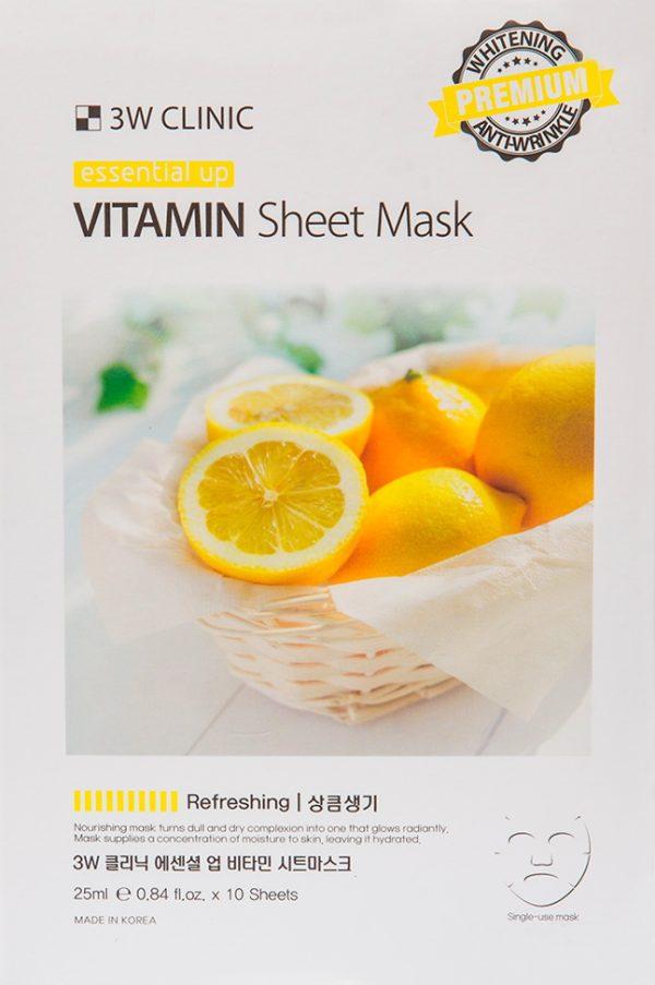 Маска для лица - Essential Up vitamin Sheet Mask [3W Clinic]