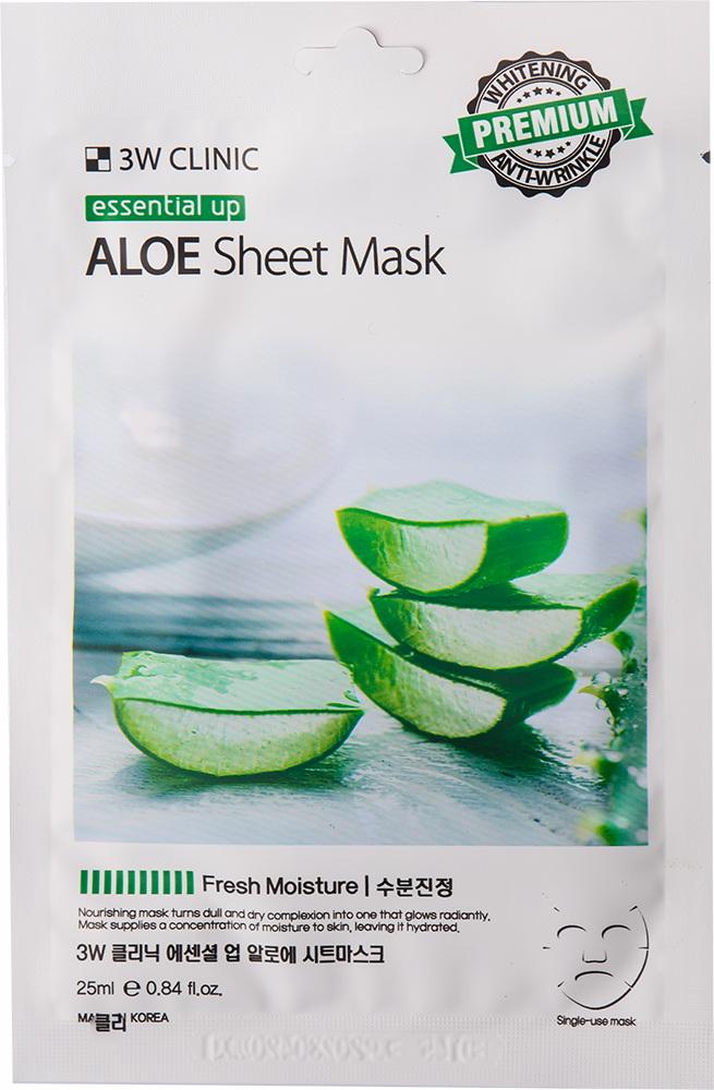 Маска для лица - Essential Up Aloe Sheet Mask [3W Clinic]