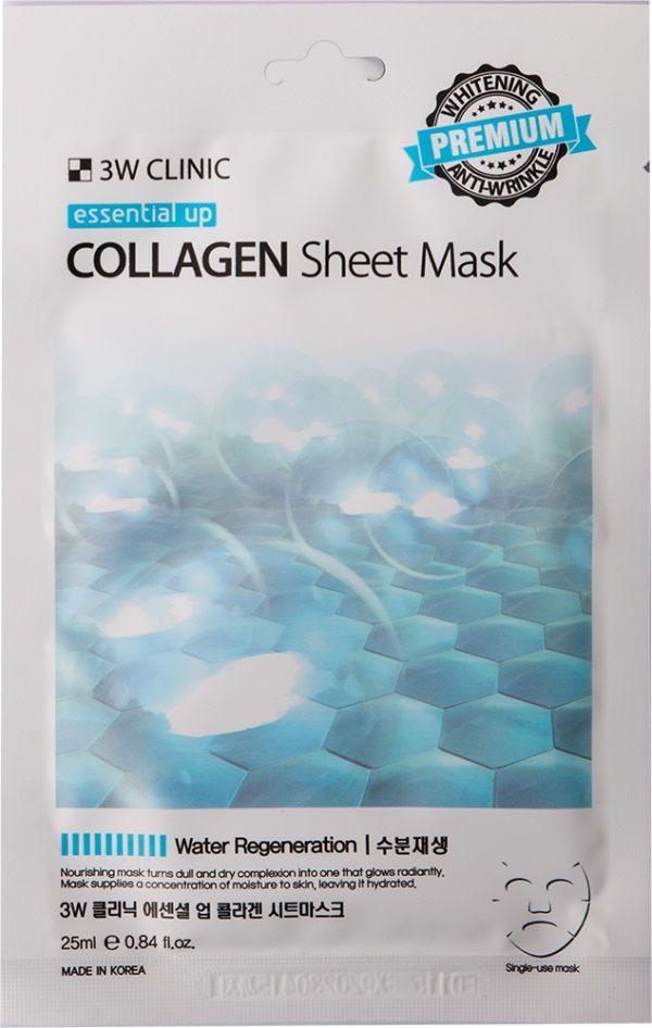 Маска для лица - Essential Up Collagen Sheet Mask [3W Clinic]