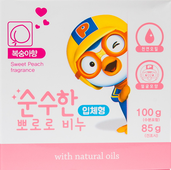 Детское мыло с цветочным ароматом Пороро —Pororo Pure soap three-dimensional peach flavor
