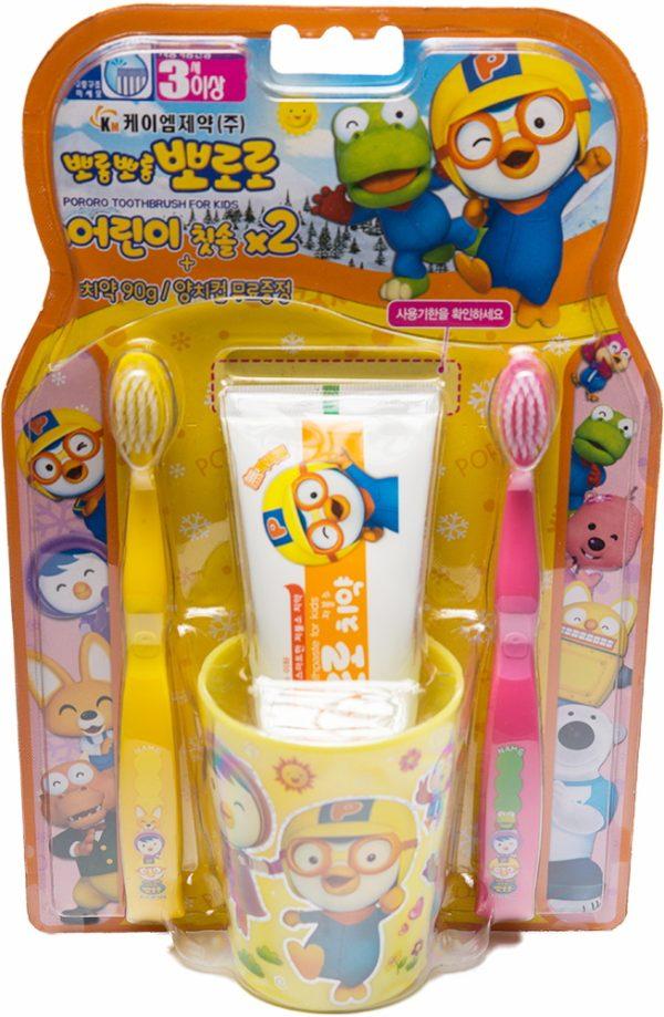 Набор детской зубной щётки Pororo желта и розовая  Пороро —Pororo Child toothbrush Set Yellow&Pink