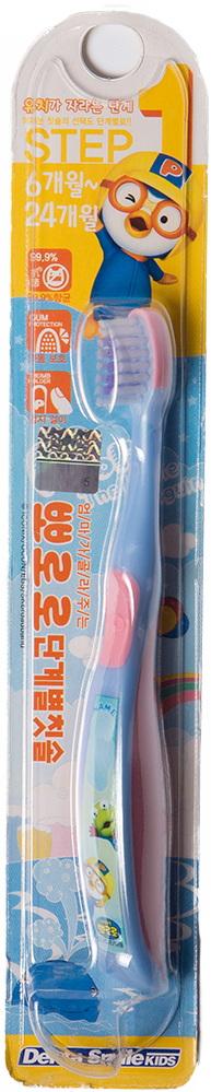 Детская зубная щётка голубая от 6 до 24 месяцев Пороро —Pororo Child toothbrush STEP 1 Blue 6 to 24