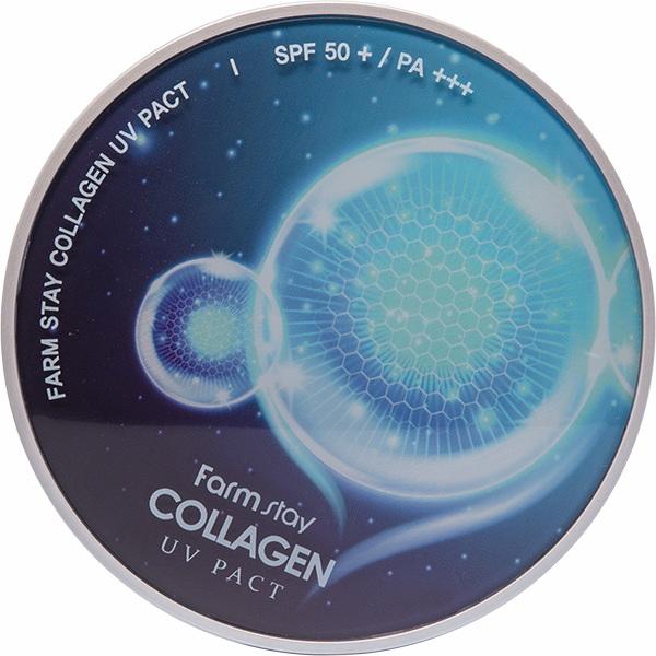 Компактная пудра с коллагеном SPF50+  Фармстей - FARMSTAY  COLLAGEN UV PACT SPF 50+/PA+++ 12G+12G